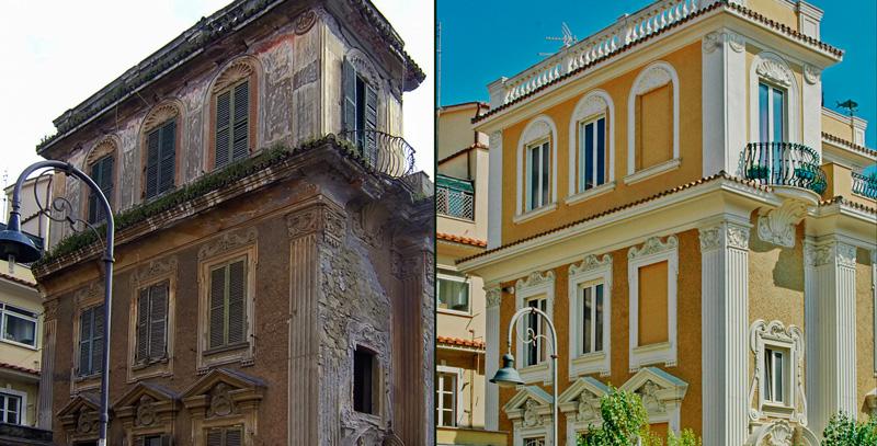 Ristrutturazione edilizia rifacimento facciata for Cornici per facciate esterne